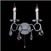 Torino Double Wall Light in Polished Chrome and Crystal, Switched - DIYAS IL30312